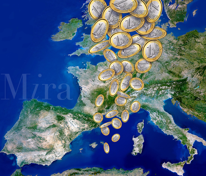 Europe satelitte map with euro coins