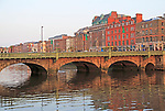 Grattan Bridge crossing River Liffey, Dublin city centre, Ireland, Republic of Ireland, 1870s