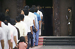 On any Sunday, crowds of workers, peasants and tourists from other provences stand in line for hours to give devotion and thanks to leader Ho in Hanoi, North Vietnam.  (Jim Bryant Photo)....