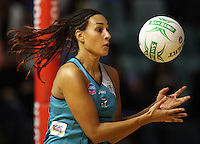Thunderbirds goalkeep Geva Mentor juggles a pass during the ANZ Netball Championship match between the Waikato Bay of Plenty Magic and Adelaide Thunderbirds, Mystery Creek Events Centre, Hamilton, New Zealand on Sunday 19 July 2009. Photo: Dave Lintott / lintottphoto.co.nz