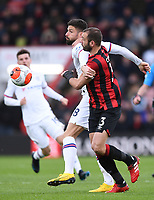 29th February 2020; Vitality Stadium, Bournemouth, Dorset, England; English Premier League Football, Bournemouth Athletic versus Chelsea; Olivier Giroud of Chelsea competes for the ball with Steve Cook of Bournemouth