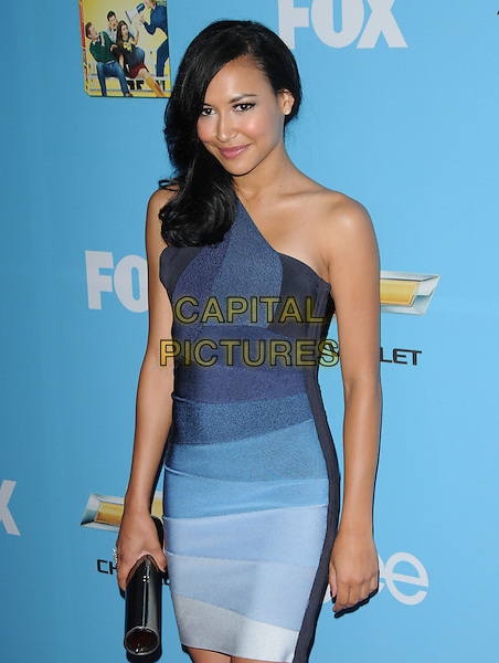 NAYA RIVERA.Fox's Premiere Screening & Party for 'Glee' held at Paramount Studios in Hollywood, California, USA..September 7th, 2010   .half length dress white blue one shoulder grey gray  clutch bag.CAP/RKE/DVS.©DVS/RockinExposures/Capital Pictures.