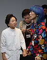 "October 19, 2016, Tokyo, Japan - Former leprosy patient Miyo Maki (L) chats with designer Takafumi Tsuruta as they prepare for the ""tenbo"" 2017 spring/summer collection as a part of Japan Fashion Week in Tokyo on Wednesday, October 19, 2016.   (Photo by Yoshio Tsunoda/AFLO) LWX -ytd-"