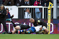 Aled Brew of Bath Rugby scores a second half try. Aviva Premiership match, between Exeter Chiefs and Bath Rugby on December 2, 2017 at Sandy Park in Exeter, England. Photo by: Patrick Khachfe / Onside Images