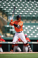 Baltimore Orioles Ian Evans (63) at bat during a Florida Instructional League game against the Philadelphia Phillies on October 4, 2018 at Ed Smith Stadium in Sarasota, Florida.  (Mike Janes/Four Seam Images)