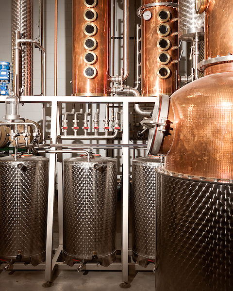 June 18, 2013. Chapel Hill, North Carolina<br />  The entire TOPO Distillery system is made by CARL Distilleries and is estimate to have cost over 1 million dollars.<br />  TOPO, Top of the Hill Distillery, the brainchild of owner Scott Maitland and Spirit Guide Esteban McMahan, is located in the old N&O Building on Franklin Street. Making gin, vodka and American whiskey from locally sourced wheat, they are one of the few distilleries bringing  organic liquor to ABC shelves around the state.