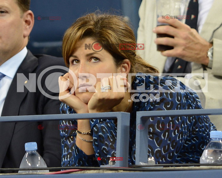 FLUSHING NY- SEPTEMBER 5: Mirka Federer is sighted watching the Federer Vs Berdych match on Arthur Ashe stadium at the USTA Billie Jean King National Tennis Center on September 5, 2012 in in Flushing Queens. Credit: mpi04/MediaPunch Inc. ***NO NY NEWSPAPERS*** /NortePhoto.com<br />