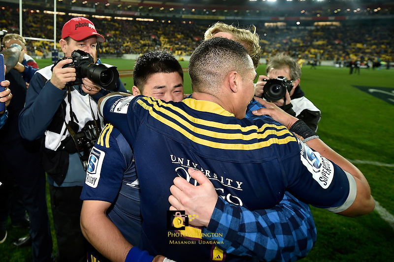 An emotional Fumiaki Tanaka after the Highlanders win the Super Rugby Final - Hurricanes v Highlanders at Westpac Stadium, Wellington, New Zealand on Saturday 4 July 2015.<br /> Photo by Masanori Udagawa. <br /> www.photowellington.photoshelter.com.