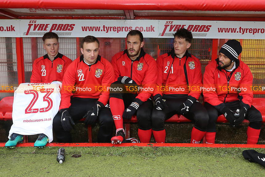 The Stevenage substitutes during Stevenage vs Newport County, Sky Bet EFL League 2 Football at the Lamex Stadium on 7th January 2017