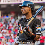 19 September 2015: Miami Marlins second baseman Dee Gordon on deck during a game against the Washington Nationals at Nationals Park in Washington, DC. The Marlins fell to the Nationals 5-2 in the third game of their 4-game series. Mandatory Credit: Ed Wolfstein Photo *** RAW (NEF) Image File Available ***