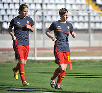 20131026 - LIVADIA , GREECE : Belgian Lien Mermans (right) and Cecile De Gernier pictured during the female soccer match between Greece and Belgium , on the third matchday in group 5 of the UEFA qualifying round to the FIFA Women World Cup in Canada 2015 at the Levadia Municipal Stadium , Livadia . Saturday 26th October 2013. PHOTO DAVID CATRY