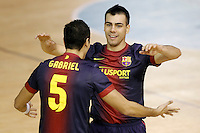 FC Barcelona Alusport's Gabriel Da Silva (l) and Sergio Lozano celebrate goal during Spanish National Futsal League match.November 24,2012. (ALTERPHOTOS/Acero) /NortePhoto