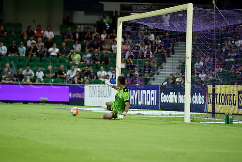 20.02.2016, Perth, Australia. Hyundai A-League, Perth Glory versus Brisbane Roar. Glory goal keeper Ante Covic fails to save a penalty shot from Petratos (Bris) during the first half. Perth Glory defeated Brisbane Roar 6-3.
