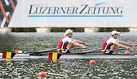 Lucerne, SWITZERLAND<br /> <br /> BEL LM2X. Bow. Tim BRYS and Niels VAN ZANDWEGHE. 2016 European Olympic Qualifying Regatta, Lake Rotsee.<br /> <br /> Tuesday  24/05/2016<br /> <br /> [Mandatory Credit; Peter SPURRIER/Intersport-images]