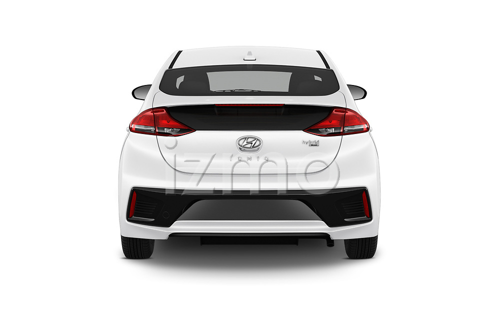 Straight rear view of a 2019 Hyundai Ioniq Hybrid Blue 5 Door Hatchback stock images