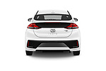Straight rear view of a 2018 Hyundai Ioniq Hybrid Blue 5 Door Hatchback stock images