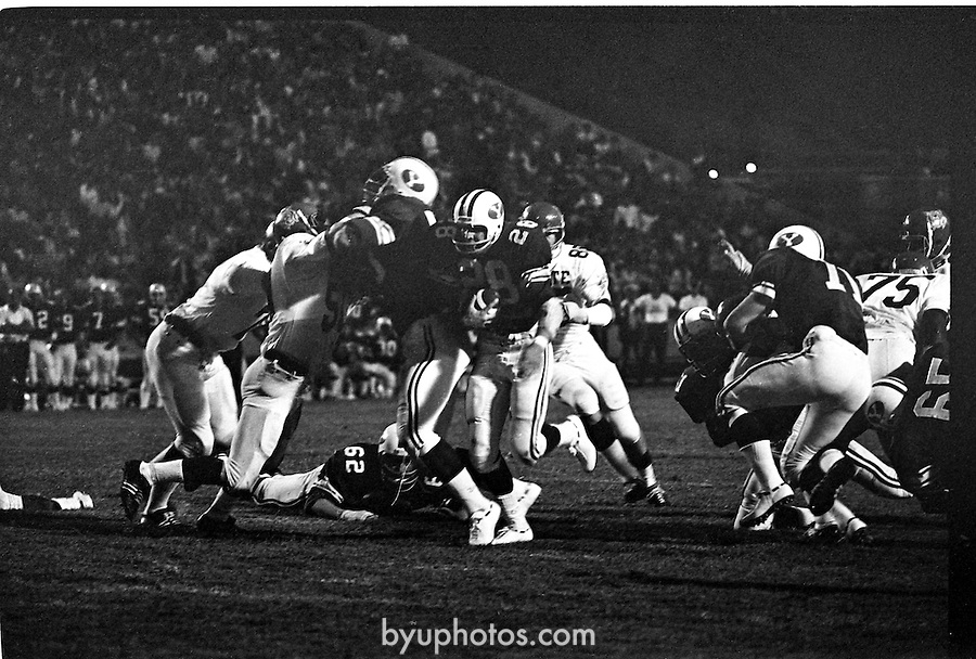 FTB 52 73B 18<br /> <br /> FTB 52 A-E<br /> <br /> September 16, 1972<br /> <br /> BYU vs Kansas State<br /> <br /> Coach LaVell Edwards first win in first year<br /> <br /> Peter Van Valkenburg (28)<br /> <br /> January 6, 2017<br /> <br /> Photography by Mark Philbrick /BYU<br /> <br /> &copy; BYU PHOTO 2016<br /> All Rights Reserved<br /> photo@byu.edu  (801)422-7322