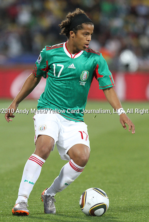 22 JUN 2010: Giovani Dos Santos (MEX). The Mexico National Team lost 1-2 to the Uruguay National Team at Royal Bafokeng Stadium in Rustenburg, South Africa in a 2010 FIFA World Cup Group A match.