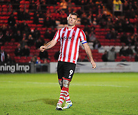 Lincoln City's Matt Rhead celebrates scoring in the penalty shoot out<br /> <br /> Photographer Andrew Vaughan/CameraSport<br /> <br /> The EFL Checkatrade Trophy Northern Group H - Lincoln City v Wolverhampton Wanderers U21 - Tuesday 6th November 2018 - Sincil Bank - Lincoln<br />  <br /> World Copyright © 2018 CameraSport. All rights reserved. 43 Linden Ave. Countesthorpe. Leicester. England. LE8 5PG - Tel: +44 (0) 116 277 4147 - admin@camerasport.com - www.camerasport.com