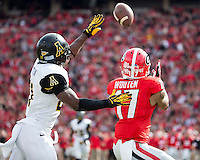 The Georgia Bulldogs beat the App State Mountaineers 45-6 in their homecoming game.  After a close first half, UGA scored 31 unanswered points in the second half.  Georgia Bulldogs wide receiver Rantavious Wooten (17), Appalachian State Mountaineers defensive back Doug Middleton (21)