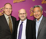 Toby Emmerich, Mark Kaufman, Kevin Tsujihara attends the Broadway Opening Performance of 'Charlie and the Chocolate Factory' at the Lunt-Fontanne Theatre on April 23, 2017 in New York City.