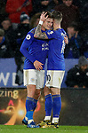 Harvey Barnes of Leicester City (l) celebrates scoring the fourth goal during the Premier League match at the King Power Stadium, Leicester. Picture date: 9th March 2020. Picture credit should read: Darren Staples/Sportimage