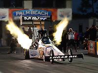 Jan. 17, 2013; Jupiter, FL, USA: NHRA top fuel dragster driver Brandon Bernstein during testing at the PRO Winter Warmup at Palm Beach International Raceway.  Mandatory Credit: Mark J. Rebilas-