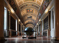 The Diana Gallery, formerly the Queen's Gallery, 80m x 7m, built under Henri IV, with decoration recounting the story of the goddess Diana, Chateau de Fontainebleau, France. The gallery was restored under Napoleon I and Louis XVIII, and converted into a library under Napoleon III. The Globe was made for Napoleon I. The Palace of Fontainebleau is one of the largest French royal palaces and was begun in the early 16th century for Francois I. It was listed as a UNESCO World Heritage Site in 1981. Picture by Manuel Cohen