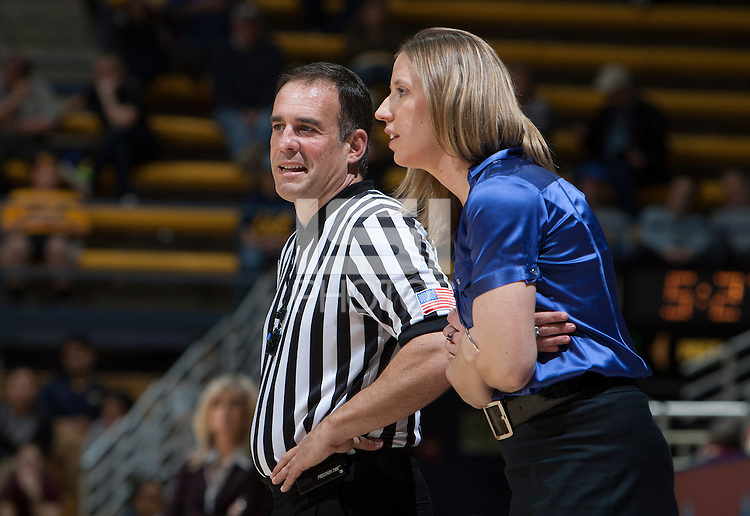 California head coach Lindsay Gottlieb talks with the referee during the game against Arizona State at Haas Pavilion in Berkeley, California on February 16th, 2014.  California defeated Arizona State, 74-63.