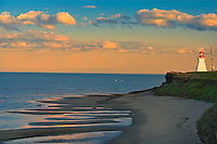 Richibucto Head (Cap Lumi&egrave;re) Lighthouse in Northumberland Strait at sunrise<br /> Cap Lumiere<br /> New Brunswick<br /> Canada