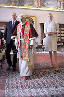 Benedict XVI receives:  Prince Albert II of Monaco and  Princess Charlene. Vatican January 12, 2013
