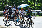 Nairo Quintana (COL) Movistar Team, Michal Kwiatkowski (POL) Team Sky, Alexis Vuillermoz (FRA) AG2R and Polka Dot Jersey Warren Barguil (FRA) Team Sunweb climb during Stage 13 of the 104th edition of the Tour de France 2017, running 101km from Saint-Girons to Foix, France. 14th July 2017.<br /> Picture: ASO/Pauline Ballet | Cyclefile<br /> <br /> <br /> All photos usage must carry mandatory copyright credit (&copy; Cyclefile | ASO/Pauline Ballet)
