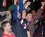(Boston MA 0121/18)  Patriots fan celebrate as their New England Patriots  beat the Jaguars 24-20, Sunday, January 21, 2018, at the Greatest Bar in Boston. Herald Photo by Jim Michaud
