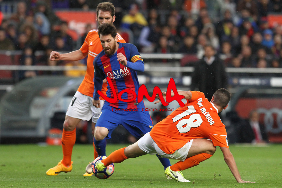 26.04.2017 Barcelona. La Liga , game 34. Picture show Leo Messi in action during game between FC Barcelona against Osasuna at Camp Nou01.12.2016 Barcelona.