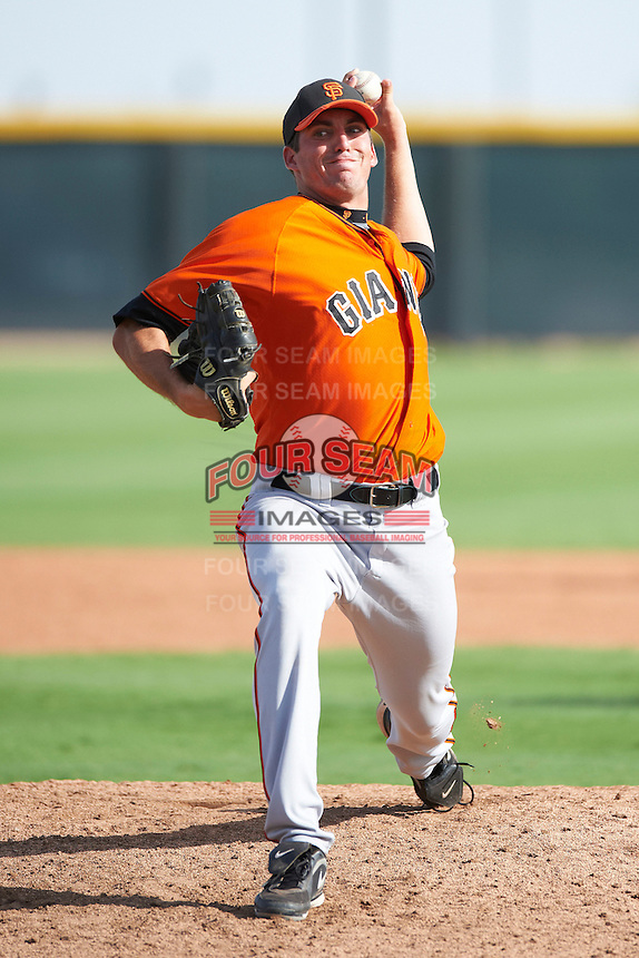 San Francisco Giants minor league pitcher Mason McVay #52 during an instructional league game against the Colorado Rockies at the Salt River Flats Complex on October 4, 2012 in Scottsdale, Arizona.  (Mike Janes/Four Seam Images)