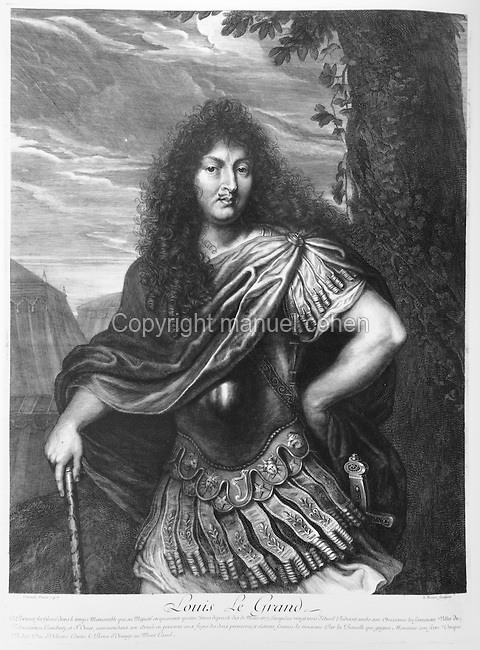 Portrait of King Louis XIV, 1638-1715, wearing the costume of a Roman Emperor, engraving by Le Bossu after Corneille. Copyright Collection Particuliere Tropmi / Manuel Cohen