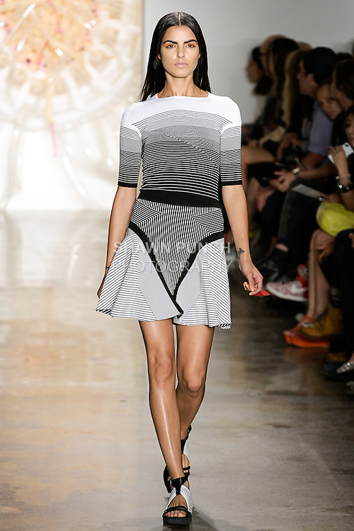 Liza walks runway in an outfit from the Ohne Titel Spring Summer 2013 collection by Alexa Adams and Flora Gill, during Milk Made Fashion Week Spring 2013 in New York City.