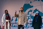 Speakers at the rally for the Global Day of Action. (Images free for Editorial Web usage for Fresh Air Participants during COP 15. Credit: Robert vanWaarden)