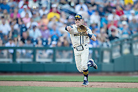 Michigan Wolverines shortstop Jack Blomgren (2) makes a throw to first base against the Vanderbilt Commodores during Game 1 of the NCAA College World Series Finals on June 24, 2019 at TD Ameritrade Park in Omaha, Nebraska. Michigan defeated Vanderbilt 7-4. (Andrew Woolley/Four Seam Images)