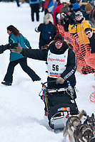 Aaron Burmeister team leaves the start line during the restart day of Iditarod 2009 in Willow, Alaska