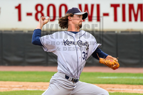 Kane County Cougars pitcher Tommy Eveld (30) during a Midwest League game against the Wisconsin Timber Rattlers on June 11, 2017 at Fox Cities Stadium in Appleton, Wisconsin.  Kane County defeated Wisconsin 6-4. (Brad Krause/Krause Sports Photography)