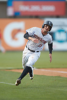 Michael Hickman (18) of the Kannapolis Intimidators hustles towards home plate against the Lakewood BlueClaws at Kannapolis Intimidators Stadium on April 8, 2018 in Kannapolis, North Carolina.  The Intimidators defeated the BlueClaws 4-3 in game two of a double-header.  (Brian Westerholt/Four Seam Images)