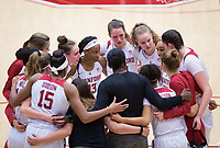 STANFORD, CA - February 22, 2019: Huddle at Maples Pavilion. The Stanford Cardinal defeated the Arizona Wildcats 56-54.