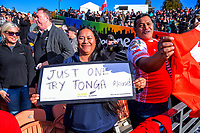 A satisfied Tonga fan after the international rugby union match between the New Zealand All Blacks and Tonga at FMG Stadium in Hamilton, New Zealand on Saturday, 7 September 2019. Photo: Dave Lintott / lintottphoto.co.nz