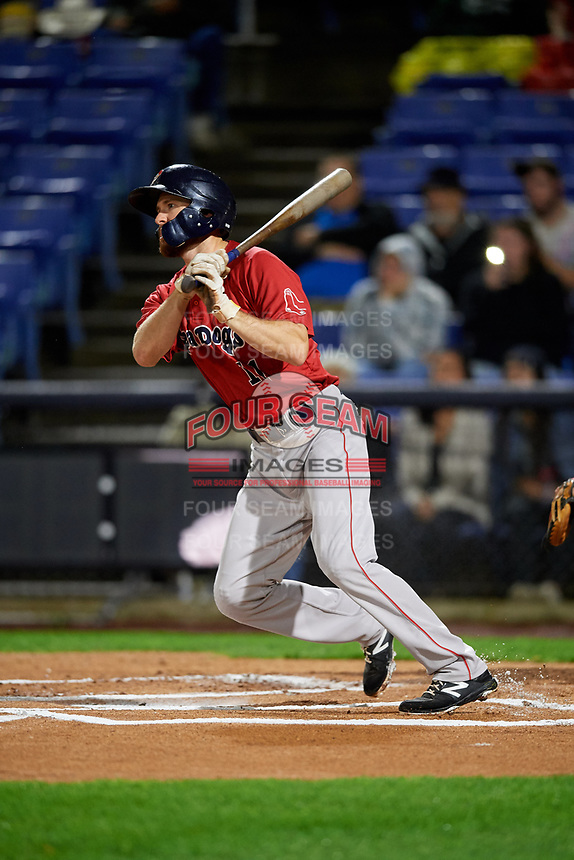 Portland Sea Dogs first baseman Jantzen Witte (11) follows through on a swing during a game against the Binghamton Rumble Ponies on August 31, 2018 at NYSEG Stadium in Binghamton, New York.  Portland defeated Binghamton 4-1.  (Mike Janes/Four Seam Images)