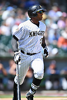 Charlotte Knights right fielder Rymer Liriano (29) runs to first base during a game against the  Gwinnett Braves at BB&T Ballpark on May 7, 2017 in Charlotte, North Carolina. The Knights defeated the Braves 7-1. (Tony Farlow/Four Seam Images)