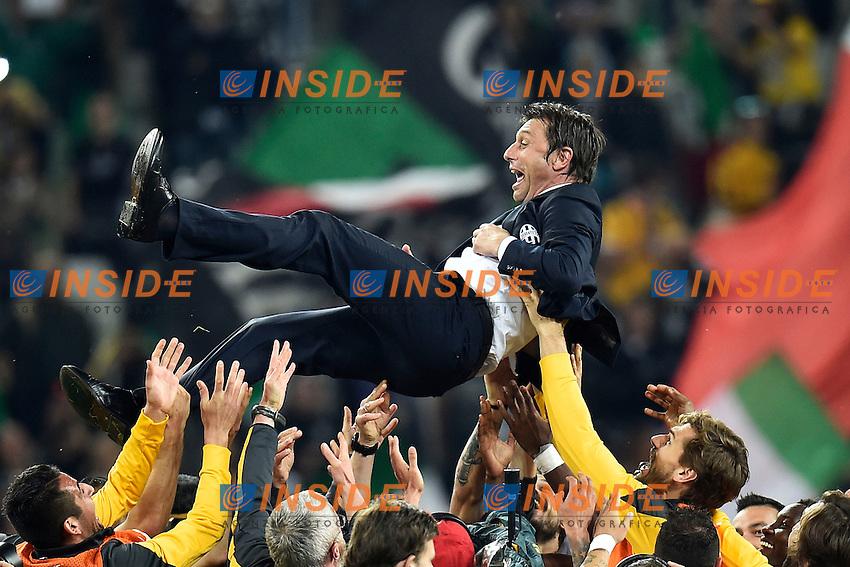 Antonio Conte lanciato in aria dai suoi giocatori <br /> Torino 06-05-2014 Juventus Stadium - Football Calcio 2013/2014 Serie A, Juventus - Atalanta, Foto Andrea Staccioli / Insidefoto