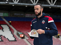 Bolton Wanderers' Marc Wilson inspecting the pitch before the match<br /> <br /> Photographer Andrew Kearns/CameraSport<br /> <br /> The EFL Sky Bet Championship - Wigan Athletic v Bolton Wanderers - Saturday 16th March 2019 - DW Stadium - Wigan<br /> <br /> World Copyright &copy; 2019 CameraSport. All rights reserved. 43 Linden Ave. Countesthorpe. Leicester. England. LE8 5PG - Tel: +44 (0) 116 277 4147 - admin@camerasport.com - www.camerasport.com