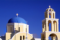Greek Orthodox Domb Church in beautiful Oia in Santorini greece