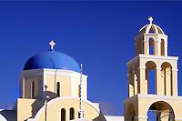Greek Orthodox Domb Church in beautiful Oia in Santorini greece